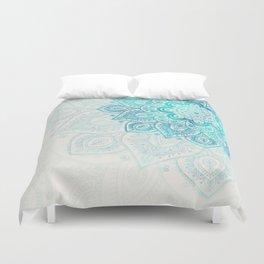 Turquoise Flower Mandala Duvet Cover