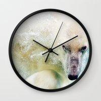 polar bear Wall Clocks featuring Polar Bear by Pati Designs