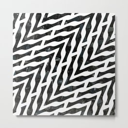Black and White Geometric Pattern Metal Print