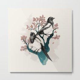 Magpies on Oak Metal Print