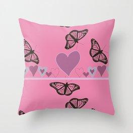 Hearts and Butteflies Throw Pillow