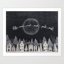 Christmas Village Chalkboard Santa & Reindeer Art Print