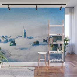 Dubai skyline topped in morning clouds landscape Wall Mural
