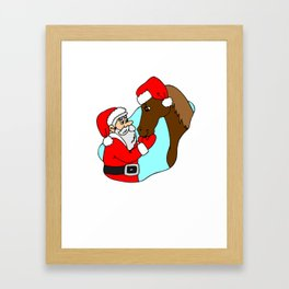 Santa And Horse Christmas Shirt Framed Art Print