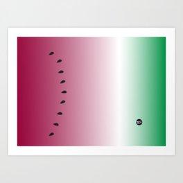 Watermelon Gradient Pink Green Art Print