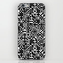 Black and White Irregular Geometric Pattern Print Design iPhone Skin