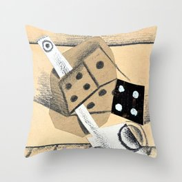 12,000pixel-500dpi - Pablo Picasso - Still life with pipe and dice - Digital Remastered Edition Throw Pillow