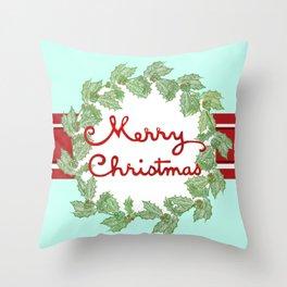 Merry Christmas striped wreath Throw Pillow