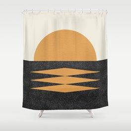 Sunset Geometric Midcentury style Shower Curtain