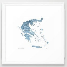 Greece watercolor map Framed Art Print