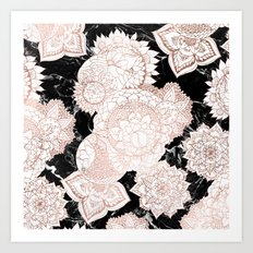 Modern rose gold floral mandala chic marble Art Print