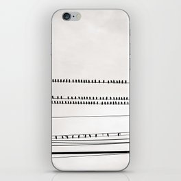 Birds on Wire Black and White Photography, Birds on Telephone Wires Photo, Flock Birds Nature Print iPhone Skin