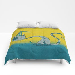 Bluish Magician Cat Comforters
