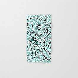 """The Face"" - inspired by Keith Haring v. teal Hand & Bath Towel"
