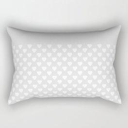 White hearts on light gray background . Rectangular Pillow