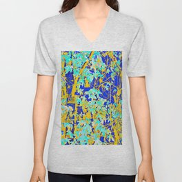 green maple tree leaf with blue and yellow abstract background Unisex V-Neck