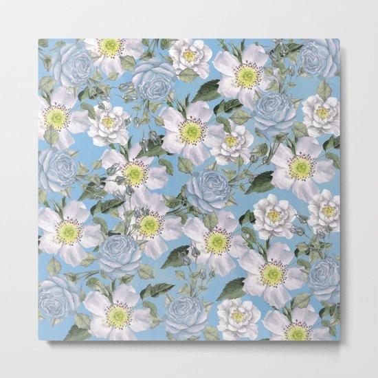Vintage Rose Pattern Blue Metal Print