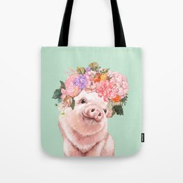 Baby Pig with Flowers Crown in Pastel Green Tote Bag
