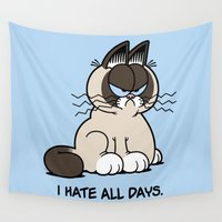 grumpy Wall Tapestries featuring Always Grumpy by Mike Handy Art