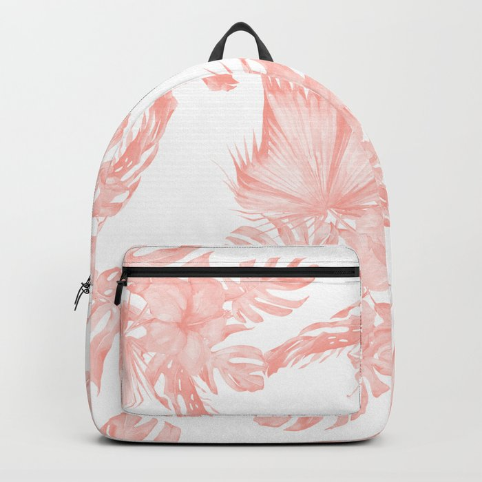 Tropical Hibiscus and Palm Leaves Coral White Backpack