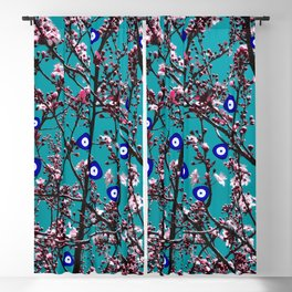 Cherry Blossoms Evil Eyes Blackout Curtain