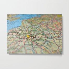 Paris Map Print, France Metal Print