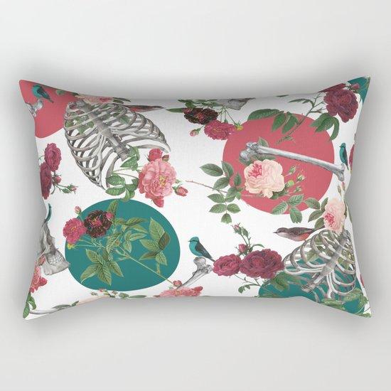 Skull Rose and Polka Dot Rectangular Pillow