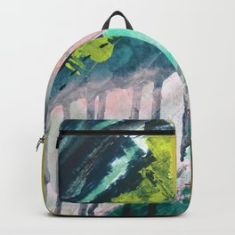 Melt: a vibrant abstract mixed media piece in blues, greens, pink, and white Backpack