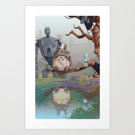 Robot Totoro & Friends Art Print