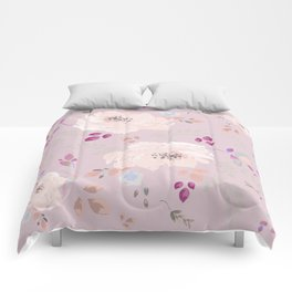 Soft pink blooming watercolor roses Comforters