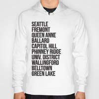 cities Hoodies featuring SEATTLE CITIES by Party in the Mountains