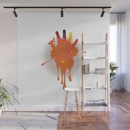 Orange hand chicken Wall Mural