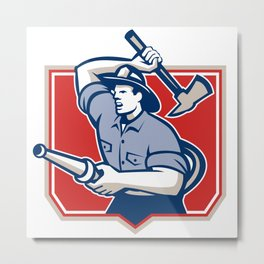 Fireman Firefighter Wielding Fire Axe Metal Print
