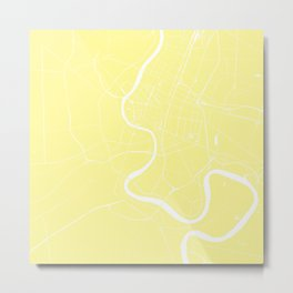 Bangkok Thailand Minimal Street Map - Pastel Yellow and White II Metal Print