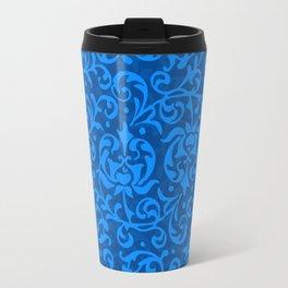 Blue Tudor Damask Travel Mug