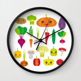 Kawaii vegetables peppers, pumpkin beets carrots, eggplant, red hot peppers, cauliflower, broccoli Wall Clock