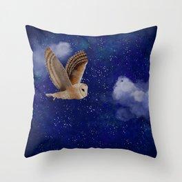 An Owl Night Flight Throw Pillow