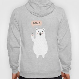 Cute Polar Bear in the Snow says Hello Hoody