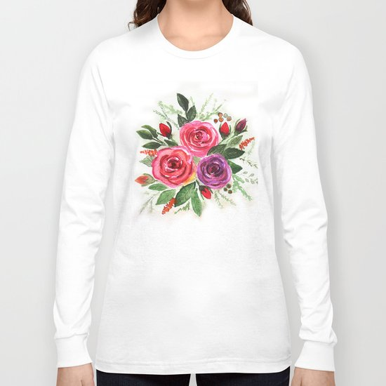 Watercolor floral pattern . Roses. Long Sleeve T-shirt