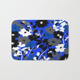 SUNFLOWER TRELLIS BLUE BLACK GRAY AND WHITE TOILE Bath Mat