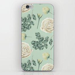 Rose Pattern Cream + Mint Green iPhone Skin