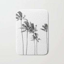Hawaii Palm Trees - Black and White Bath Mat