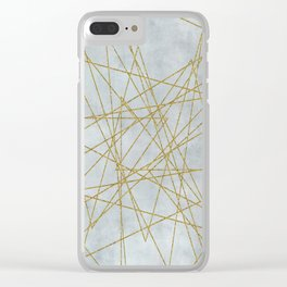 Golden Faux Glitter Lines On Teal Grey Clear iPhone Case