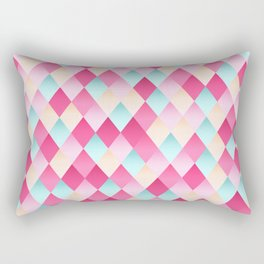 Pink And Blue Diamond Abstract Rectangular Pillow