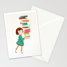Library Girl 3 Stationery Cards