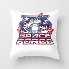 US Space Force Art | Spaceship US Flag Astronaut Light Throw Pillow