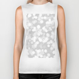 Christmas Snowflakes Bokeh Silver Pattern Biker Tank
