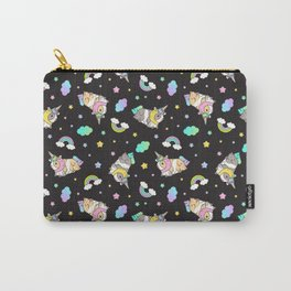Silkie Guinea Pigs Kawaii Unicorn Pattern in Black Carry-All Pouch