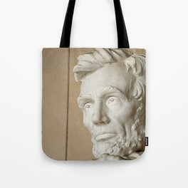 Abraham Lincoln face and head at the Lincoln Memorial in Washington DC Tote Bag