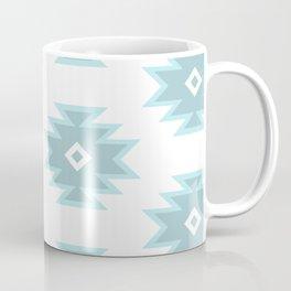 Aztec Motif Art Pattern Blue Gray White Coffee Mug